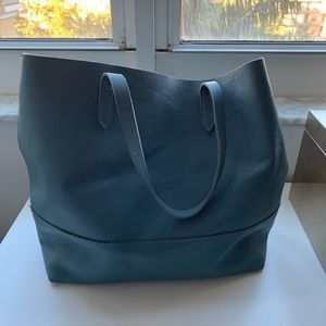 J. Crew Leather Downing Tote Pebble Blue